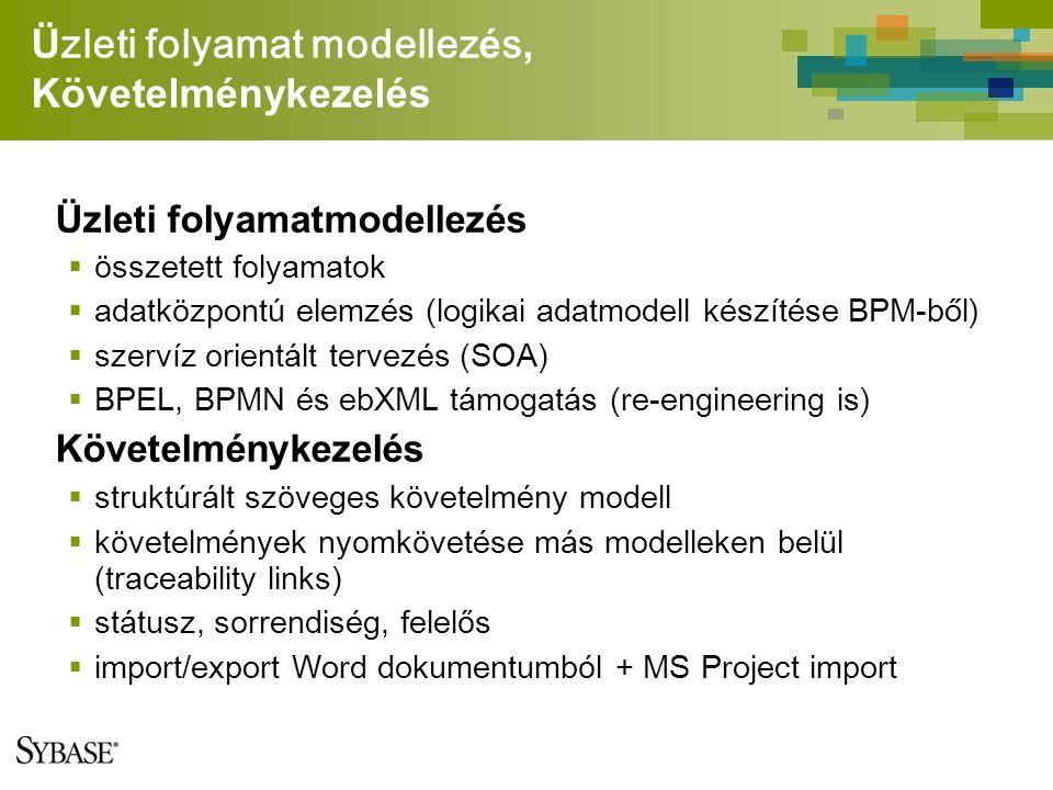 Ü zleti folyamat modellez é s, Követelménykezelés Üzleti folyamatmodellezés  összetett folyamatok  adatk ö zpont ú elemz é s (logikai adatmodell k é sz í t é se BPM-ből)  szervíz orientált tervezés (SOA)  BPEL, BPMN é s ebXML t á mogat á s (re-engineering is) Követelménykezelés  struktúrált szöveges követelmény modell  követelmények nyomkövetése más modelleken belül (traceability links)  státusz, sorrendiség, felelős  import/export Word dokumentumb ó l + MS Project import
