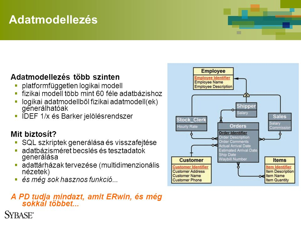 Adatmodellezés Adatmodellezés több szinten  platformfüggetlen logikai modell  fizikai modell több mint 60 féle adatbázishoz  logikai adatmodellből fizikai adatmodell(ek) generálhatóak  IDEF 1/x és Barker jelölésrendszer Mit biztosít.