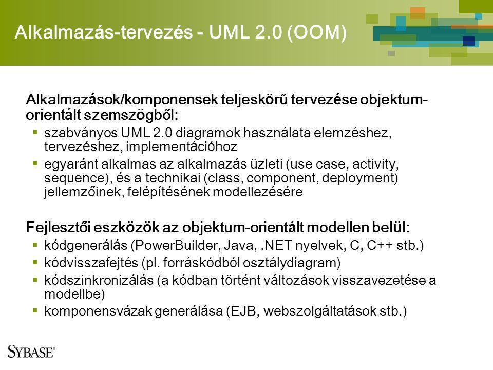 Alkalmaz á s-tervez é s - UML 2.0 (OOM) Alkalmaz á sok/komponensek teljesk ö rű tervez é se objektum- orient á lt szemsz ö gből:  szabv á nyos UML 2.0 diagramok haszn á lata elemz é shez, tervez é shez, implement á ci ó hoz  egyar á nt alkalmas az alkalmaz á s ü zleti (use case, activity, sequence), é s a technikai (class, component, deployment) jellemzőinek, fel é p í t é s é nek modellez é s é re Fejlesztői eszk ö z ö k az objektum-orient á lt modellen bel ü l:  k ó dgener á l á s (PowerBuilder, Java,.NET nyelvek, C, C++ stb.)  k ó dvisszafejt é s (pl.