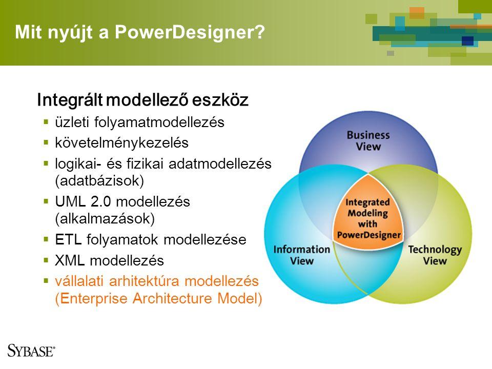 Mit nyújt a PowerDesigner? Integrált modellező eszköz  üzleti folyamatmodellezés  követelménykezelés  logikai- és fizikai adatmodellezés (adatbázis