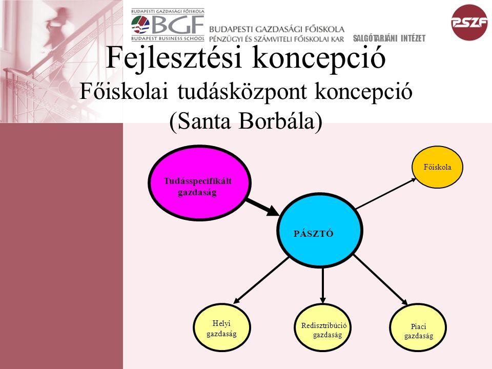 Fejlesztési koncepció Főiskolai tudásközpont koncepció (Santa Borbála) SALGÓTARJÁNI INTÉZET PÁSZTÓ Helyi gazdaság Redisztribúció gazdaság Piaci gazdas