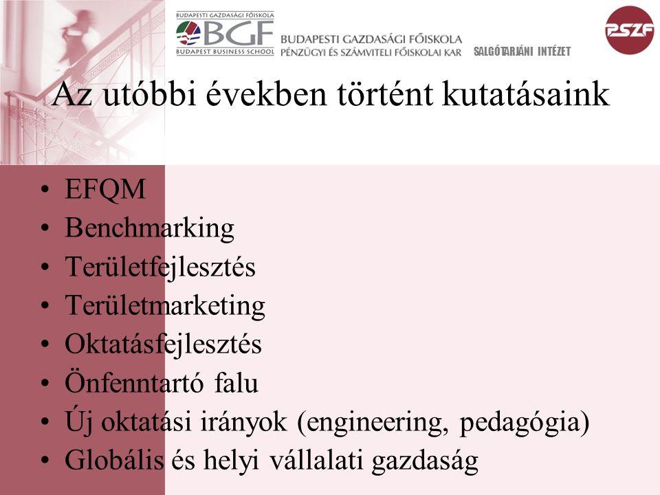 Az utóbbi években történt kutatásaink EFQM Benchmarking Területfejlesztés Területmarketing Oktatásfejlesztés Önfenntartó falu Új oktatási irányok (engineering, pedagógia) Globális és helyi vállalati gazdaság SALGÓTARJÁNI INTÉZET