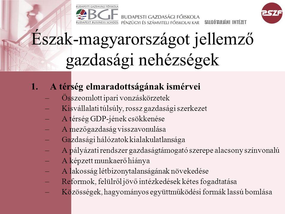 Észak-magyarországot jellemző gazdasági nehézségek SALGÓTARJÁNI INTÉZET 1.A térség elmaradottságának ismérvei –Összeomlott ipari vonzáskörzetek –Kisvállalati túlsúly, rossz gazdasági szerkezet –A térség GDP-jének csökkenése –A mezőgazdaság visszavonulása –Gazdasági hálózatok kialakulatlansága –A pályázati rendszer gazdaságtámogató szerepe alacsony színvonalú –A képzett munkaerő hiánya –A lakosság létbizonytalanságának növekedése –Reformok, felülről jövő intézkedések kétes fogadtatása –Közösségek, hagyományos együttműködési formák lassú bomlása