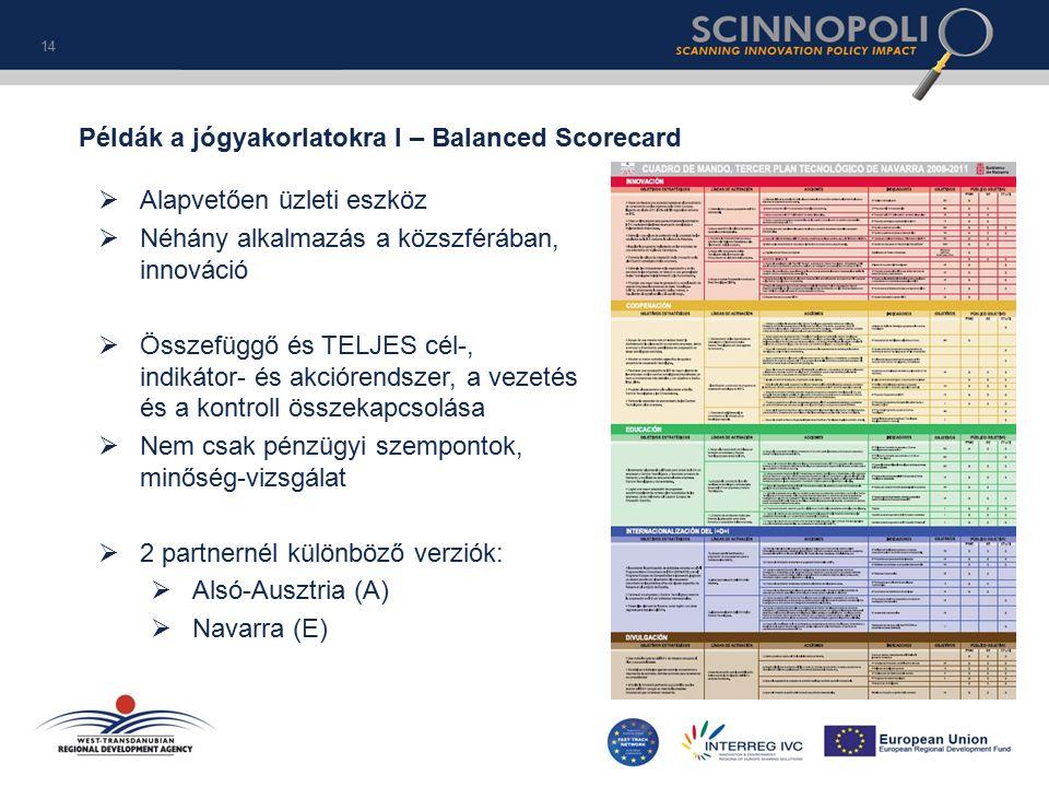 14 Példák a jógyakorlatokra I – Balanced Scorecard  Alapvetően üzleti eszköz  Néhány alkalmazás a közszférában, innováció  Összefüggő és TELJES cél-, indikátor- és akciórendszer, a vezetés és a kontroll összekapcsolása  Nem csak pénzügyi szempontok, minőség-vizsgálat  2 partnernél különböző verziók:  Alsó-Ausztria (A)  Navarra (E)