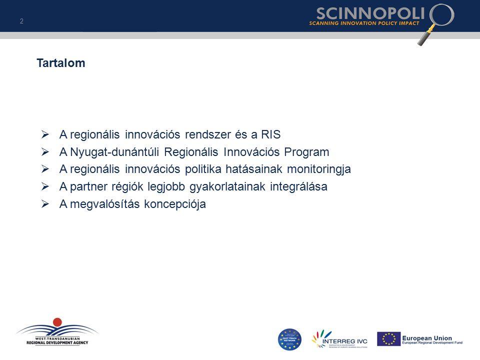  A regionális innovációs rendszer és a RIS  A Nyugat-dunántúli Regionális Innovációs Program  A regionális innovációs politika hatásainak monitoringja  A partner régiók legjobb gyakorlatainak integrálása  A megvalósítás koncepciója 2 Tartalom