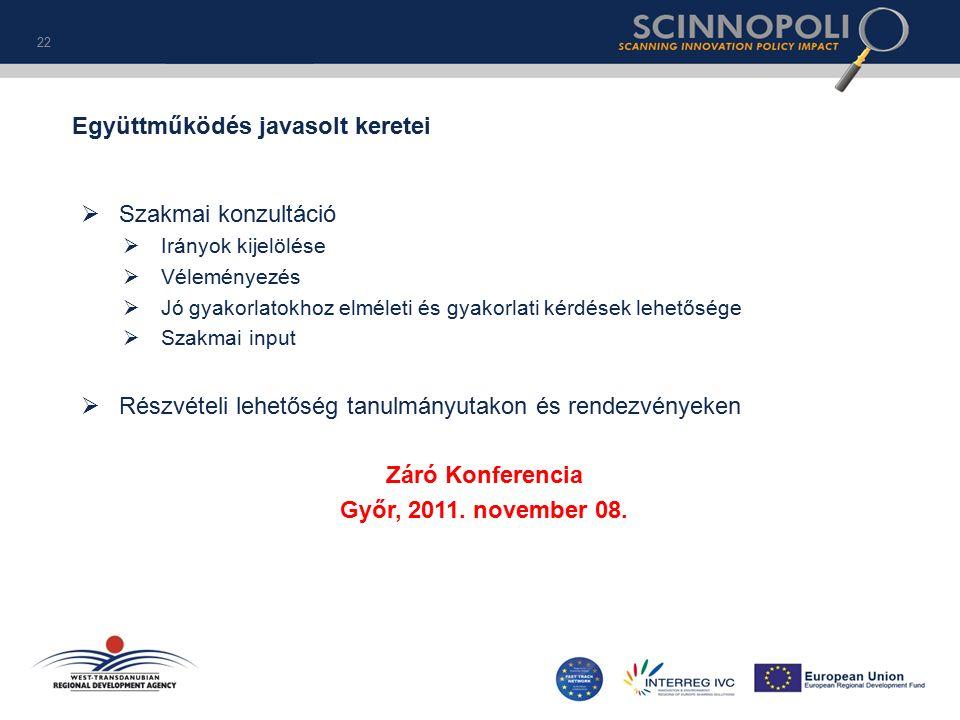  Szakmai konzultáció  Irányok kijelölése  Véleményezés  Jó gyakorlatokhoz elméleti és gyakorlati kérdések lehetősége  Szakmai input  Részvételi lehetőség tanulmányutakon és rendezvényeken Záró Konferencia Győr, 2011.