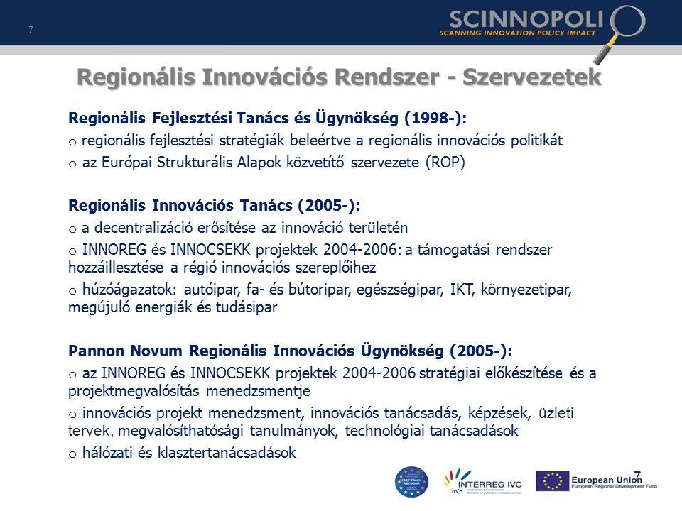 Regionális Innovációs Rendszer - Szervezetek Regionális Fejlesztési Tanács és Ügynökség (1998-): o regionális fejlesztési stratégiák beleértve a regionális innovációs politikát o az Európai Strukturális Alapok közvetítő szervezete (ROP) Regionális Innovációs Tanács (2005-): o a decentralizáció erősítése az innováció területén o INNOREG és INNOCSEKK projektek 2004-2006: a támogatási rendszer hozzáillesztése a régió innovációs szereplőihez o húzóágazatok: autóipar, fa- és bútoripar, egészségipar, IKT, környezetipar, megújuló energiák és tudásipar Pannon Novum Regionális Innovációs Ügynökség (2005-): o az INNOREG és INNOCSEKK projektek 2004-2006 stratégiai előkészítése és a projektmegvalósítás menedzsmentje o innovációs projekt menedzsment, innovációs tanácsadás, képzések, üzleti tervek, megvalósíthatósági tanulmányok, technológiai tanácsadások o hálózati és klasztertanácsadások 7 7
