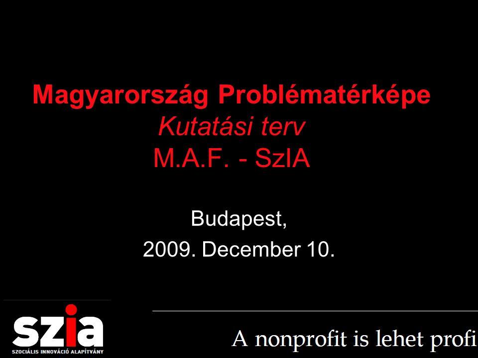 Magyarország Problématérképe Kutatási terv M.A.F. - SzIA Budapest, 2009. December 10.