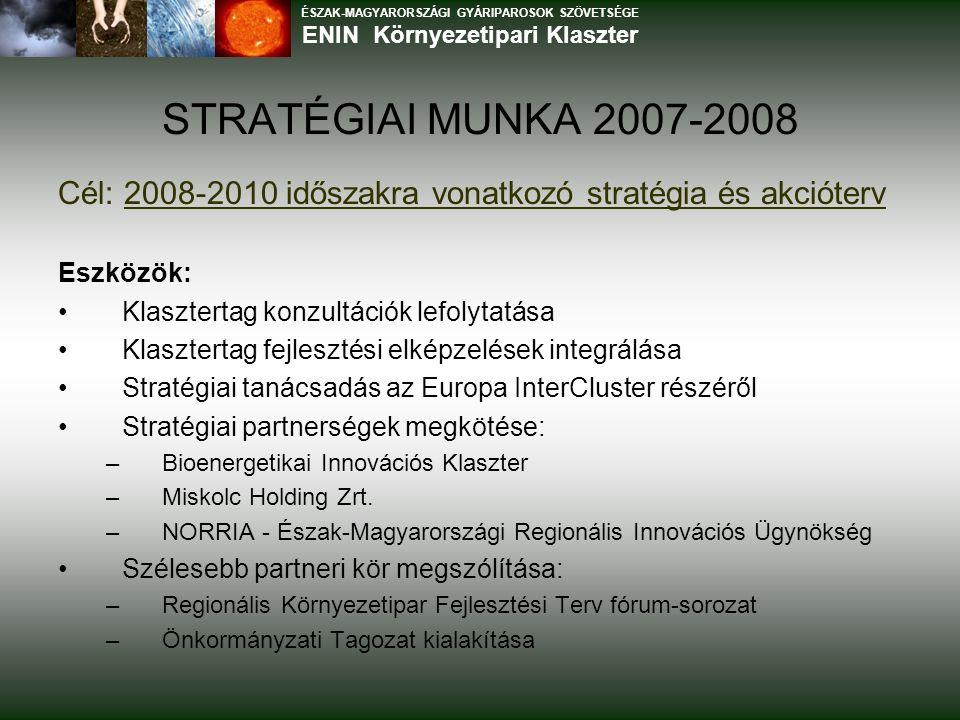 STRATÉGIAI MUNKA 2007-2008 Cél: 2008-2010 időszakra vonatkozó stratégia és akcióterv Eszközök: Klasztertag konzultációk lefolytatása Klasztertag fejlesztési elképzelések integrálása Stratégiai tanácsadás az Europa InterCluster részéről Stratégiai partnerségek megkötése: –Bioenergetikai Innovációs Klaszter –Miskolc Holding Zrt.