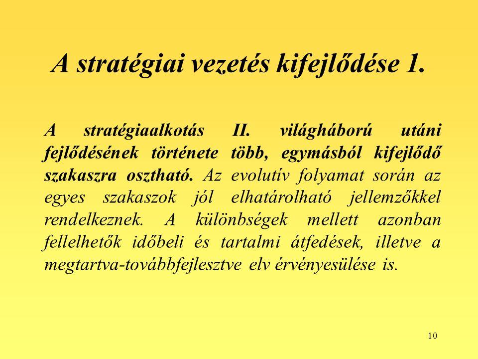 10 A stratégiai vezetés kifejlődése 1. A stratégiaalkotás II.