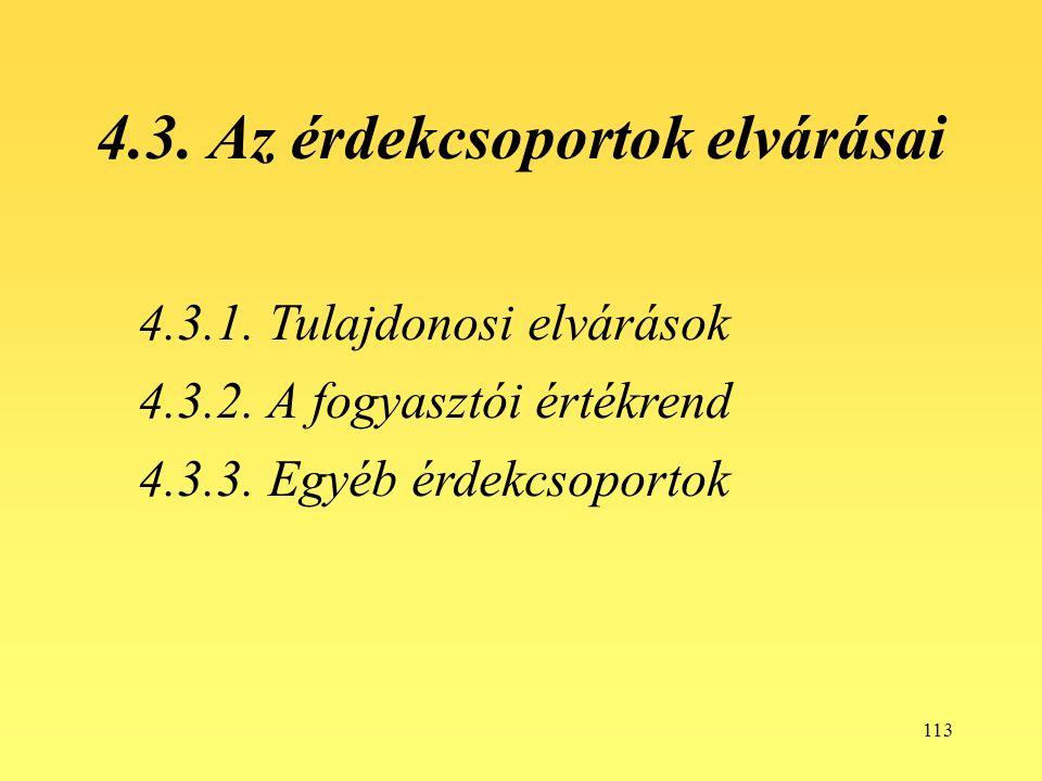 113 4.3. Az érdekcsoportok elvárásai 4.3.1. Tulajdonosi elvárások 4.3.2.