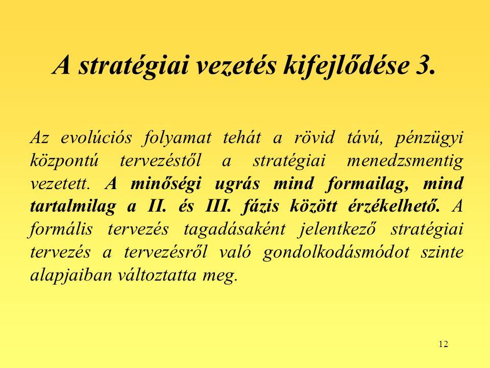 12 A stratégiai vezetés kifejlődése 3.