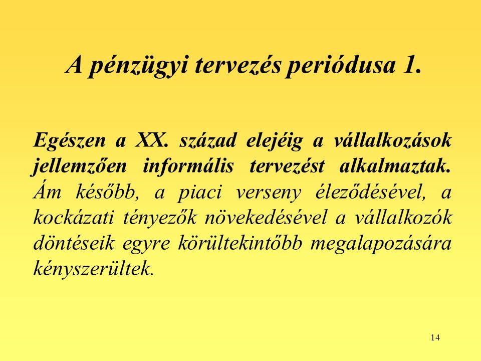 14 A pénzügyi tervezés periódusa 1. Egészen a XX.