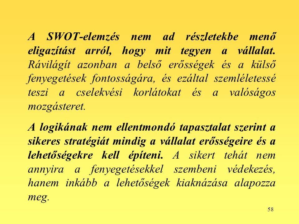 58 A SWOT-elemzés nem ad részletekbe menő eligazítást arról, hogy mit tegyen a vállalat.