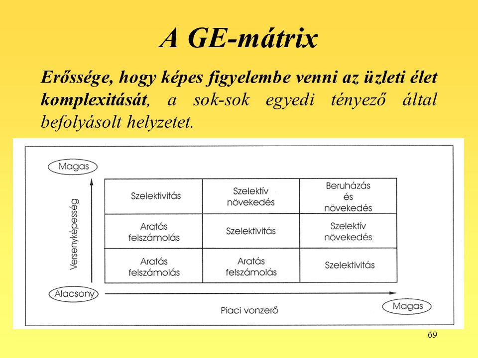 69 A GE-mátrix Erőssége, hogy képes figyelembe venni az üzleti élet komplexitását, a sok-sok egyedi tényező által befolyásolt helyzetet.