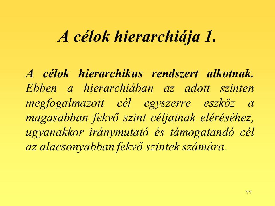 77 A célok hierarchiája 1. A célok hierarchikus rendszert alkotnak.
