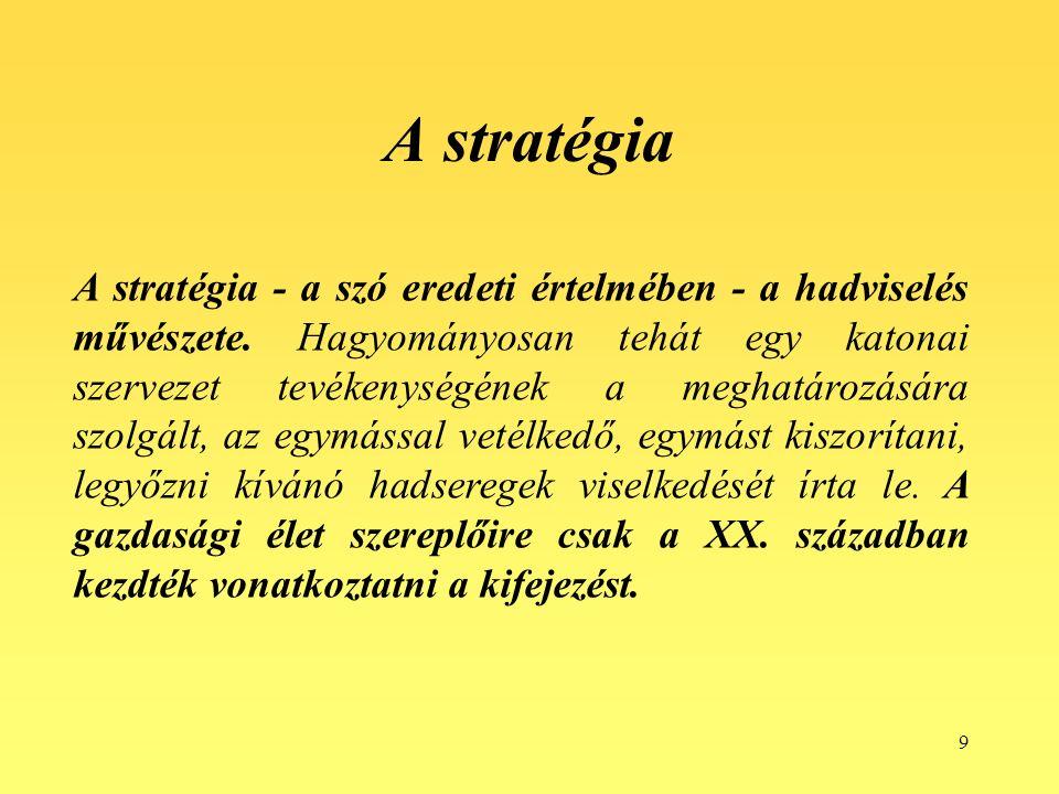 10 A stratégiai vezetés kifejlődése 1.A stratégiaalkotás II.