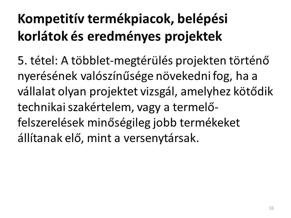Kompetitív termékpiacok, belépési korlátok és eredményes projektek 5.