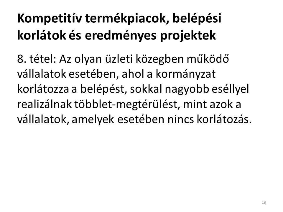 Kompetitív termékpiacok, belépési korlátok és eredményes projektek 8.