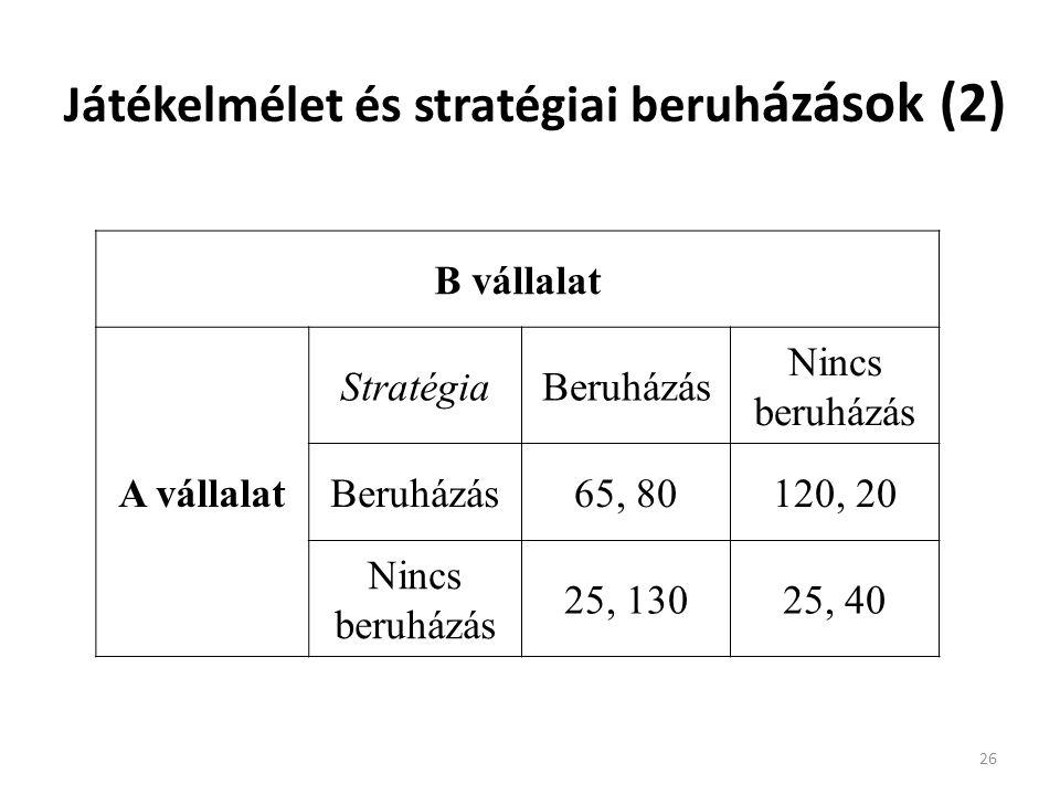 Játékelmélet és stratégiai beruh ázások (2) 26 B vállalat A vállalat StratégiaBeruházás Nincs beruházás Beruházás65, 80120, 20 Nincs beruházás 25, 13025, 40