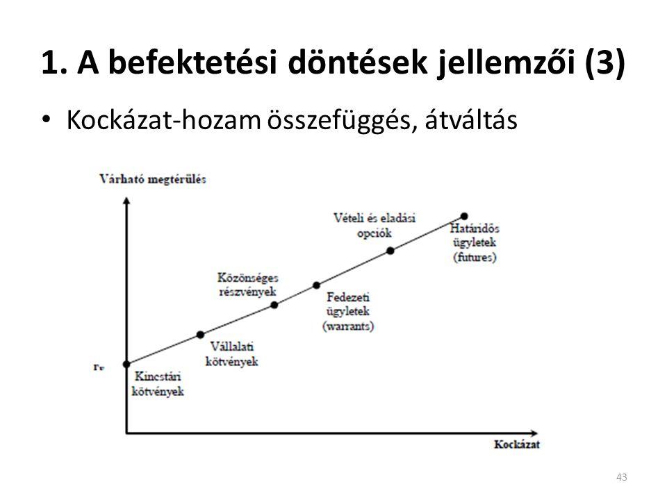 1. A befektetési döntések jellemzői (3) Kockázat-hozam összefüggés, átváltás 43