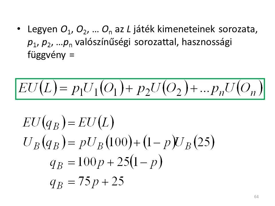 64 Legyen O 1, O 2, … O n az L játék kimeneteinek sorozata, p 1, p 2, …p n valószínűségi sorozattal, hasznossági függvény =
