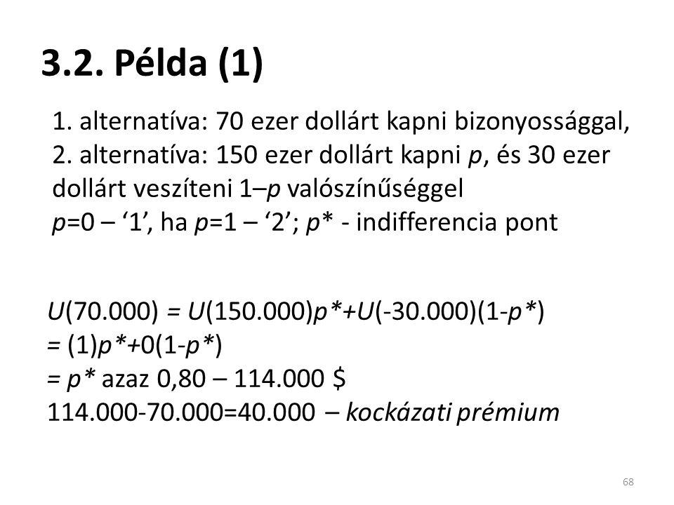 3.2. Példa (1) 68 1. alternatíva: 70 ezer dollárt kapni bizonyossággal, 2.