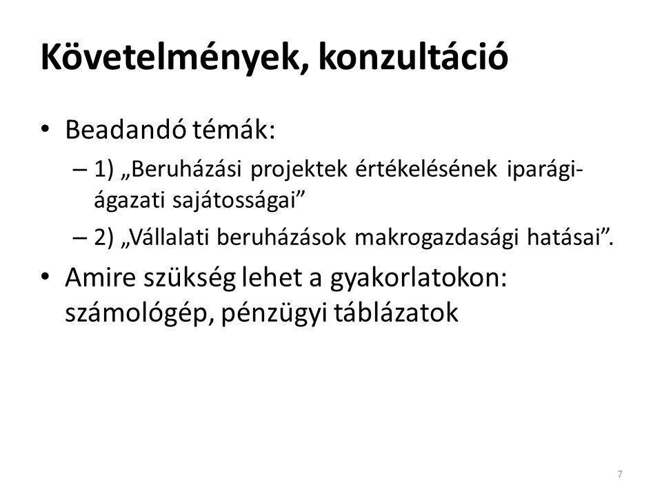 Kompetitív termékpiacok, belépési korlátok és eredményes projektek 7.