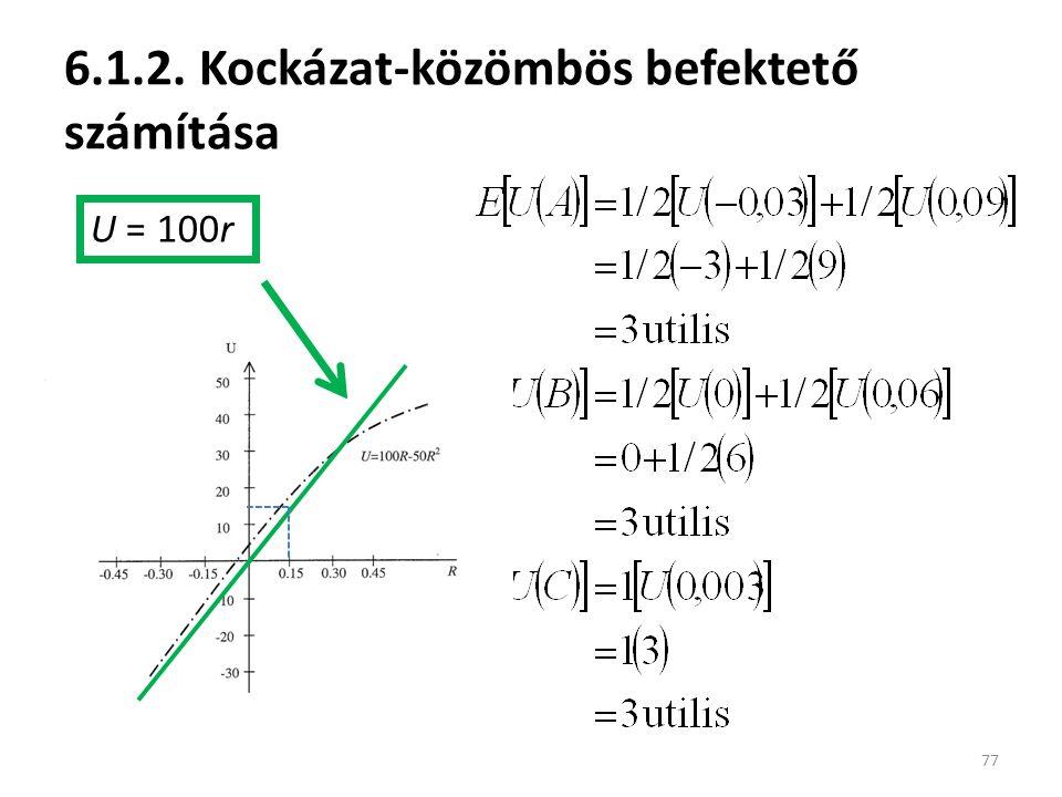 6.1.2. Kockázat-közömbös befektető számítása 77 U = 100r