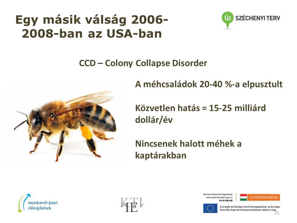 21 Egy másik válság 2006- 2008-ban az USA-ban CCD – Colony Collapse Disorder A méhcsaládok 20-40 %-a elpusztult Közvetlen hatás = 15-25 milliárd dollár/év Nincsenek halott méhek a kaptárakban