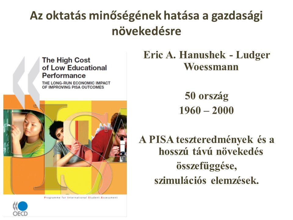 24 Az oktatás minőségének hatása a gazdasági növekedésre Eric A. Hanushek - Ludger Woessmann 50 ország 1960 – 2000 A PISA teszteredmények és a hosszú