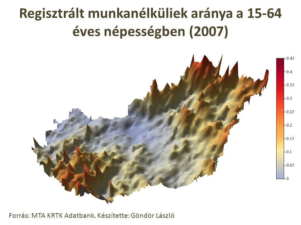 Regisztrált munkanélküliek aránya a 15-64 éves népességben (2007) Forrás: MTA KRTK Adatbank. Készítette: Göndör László