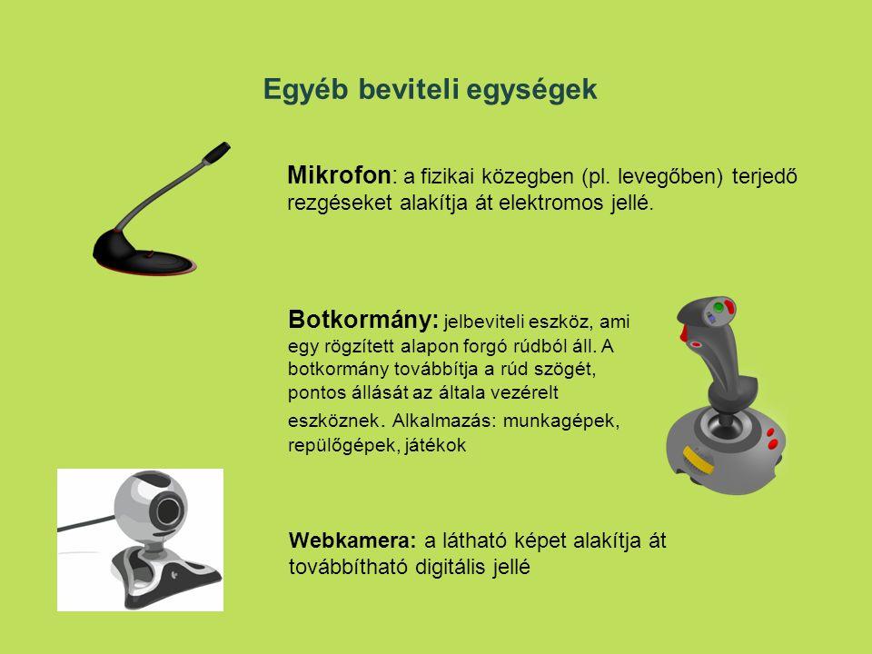 Egyéb beviteli egységek Mikrofon: a fizikai közegben (pl.