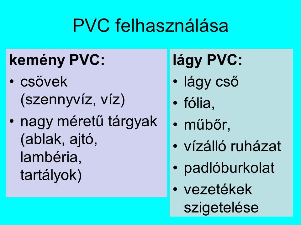 PVC felhasználása kemény PVC: csövek (szennyvíz, víz) nagy méretű tárgyak (ablak, ajtó, lambéria, tartályok) lágy PVC: lágy cső fólia, műbőr, vízálló ruházat padlóburkolat vezetékek szigetelése