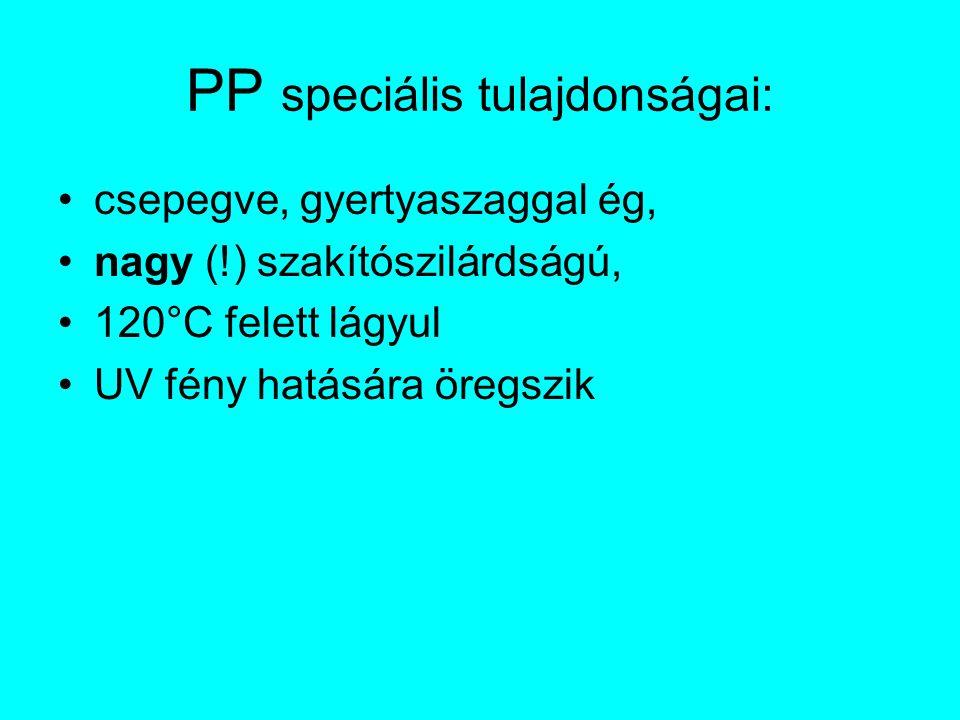 PP speciális tulajdonságai: csepegve, gyertyaszaggal ég, nagy (!) szakítószilárdságú, 120°C felett lágyul UV fény hatására öregszik
