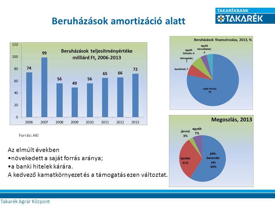 Beruházások amortizáció alatt Agrár Központ Az elmúlt években növekedett a saját forrás aránya; a banki hitelek kárára.