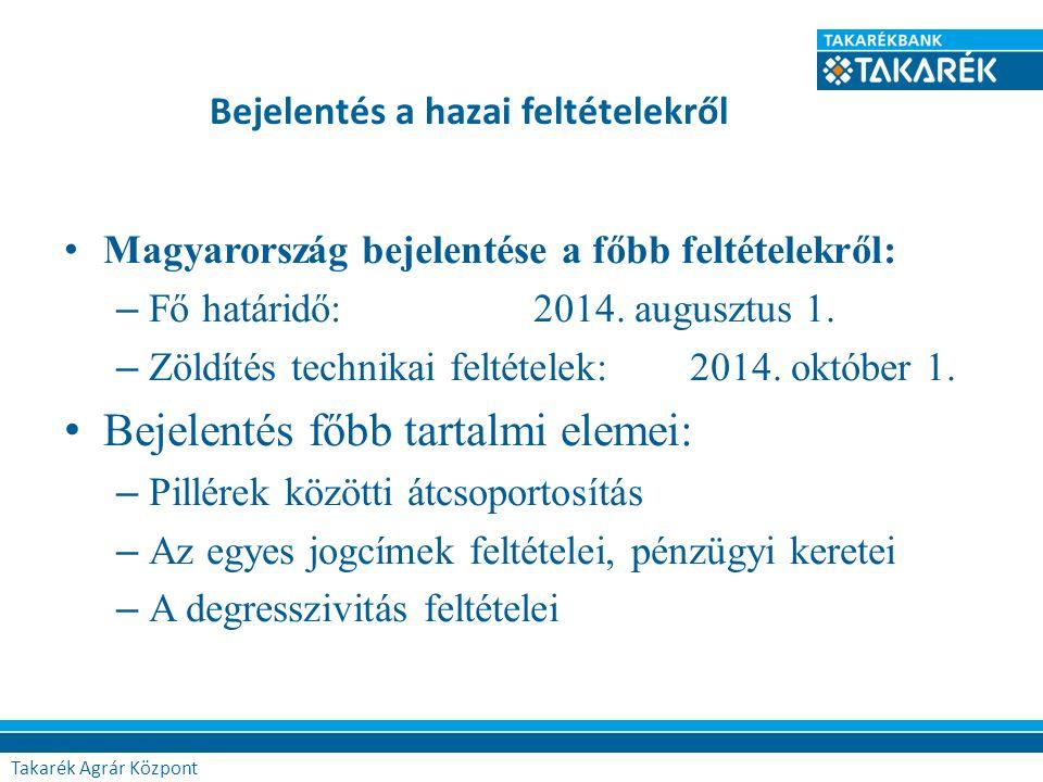 Bejelentés a hazai feltételekről Magyarország bejelentése a főbb feltételekről: – Fő határidő: 2014. augusztus 1. – Zöldítés technikai feltételek: 201