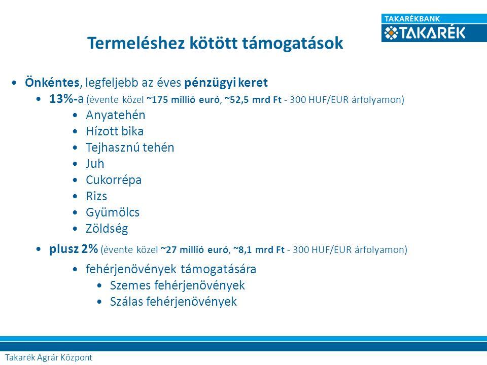 Termeléshez kötött támogatások Önkéntes, legfeljebb az éves pénzügyi keret 13%-a (évente közel ~175 millió euró, ~52,5 mrd Ft - 300 HUF/EUR árfolyamon) Anyatehén Hízott bika Tejhasznú tehén Juh Cukorrépa Rizs Gyümölcs Zöldség plusz 2% (évente közel ~27 millió euró, ~8,1 mrd Ft - 300 HUF/EUR árfolyamon) fehérjenövények támogatására Szemes fehérjenövények Szálas fehérjenövények Agrár Központ Takarék Agrár Központ