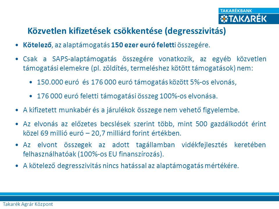 Közvetlen kifizetések csökkentése (degresszivitás) Kötelező, az alaptámogatás 150 ezer euró feletti összegére. Csak a SAPS-alaptámogatás összegére von