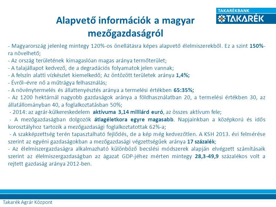 Takarék Agrár Központ - Magyarország jelenleg mintegy 120%-os önellátásra képes alapvető élelmiszerekből. Ez a szint 150%- ra növelhető; - Az ország t