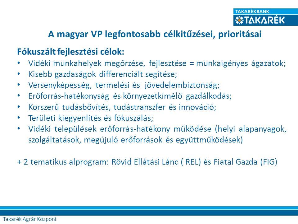 A magyar VP legfontosabb célkitűzései, prioritásai Agrár Központ Fókuszált fejlesztési célok: Vidéki munkahelyek megőrzése, fejlesztése = munkaigényes ágazatok; Kisebb gazdaságok differenciált segítése; Versenyképesség, termelési és jövedelembiztonság; Erőforrás-hatékonyság és környezetkímélő gazdálkodás; Korszerű tudásbővítés, tudástranszfer és innováció; Területi kiegyenlítés és fókuszálás; Vidéki települések erőforrás-hatékony működése (helyi alapanyagok, szolgáltatások, megújuló erőforrások és együttműködések) + 2 tematikus alprogram: Rövid Ellátási Lánc ( REL) és Fiatal Gazda (FIG) Takarék Agrár Központ