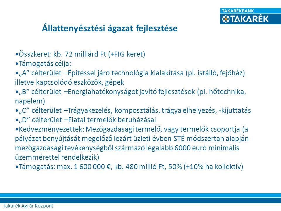 """74 Összkeret: kb. 72 milliárd Ft (+FIG keret) Támogatás célja: """"A"""" célterület –Építéssel járó technológia kialakítása (pl. istálló, fejőház) illetve k"""