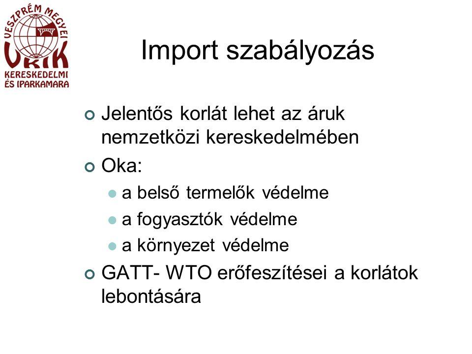 Import szabályozás Jelentős korlát lehet az áruk nemzetközi kereskedelmében Oka: a belső termelők védelme a fogyasztók védelme a környezet védelme GATT- WTO erőfeszítései a korlátok lebontására