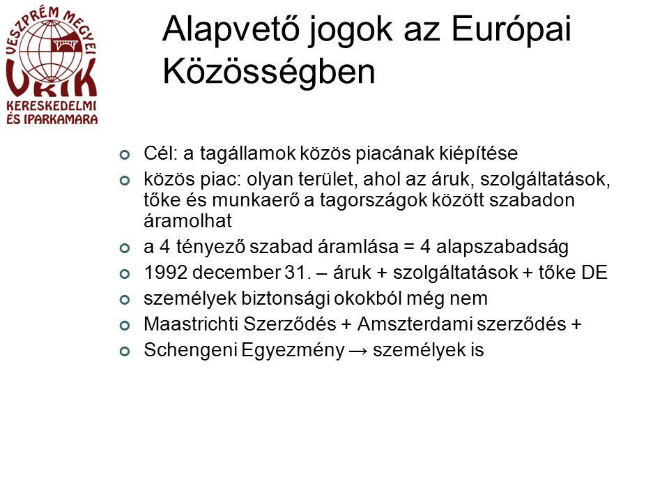 Alapvető jogok az Európai Közösségben Cél: a tagállamok közös piacának kiépítése közös piac: olyan terület, ahol az áruk, szolgáltatások, tőke és munkaerő a tagországok között szabadon áramolhat a 4 tényező szabad áramlása = 4 alapszabadság 1992 december 31.