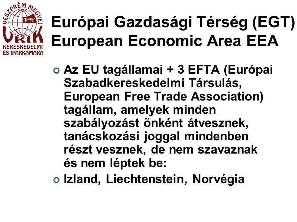 Európai Gazdasági Térség (EGT) European Economic Area EEA Az EU tagállamai + 3 EFTA (Európai Szabadkereskedelmi Társulás, European Free Trade Association) tagállam, amelyek minden szabályozást önként átvesznek, tanácskozási joggal mindenben részt vesznek, de nem szavaznak és nem léptek be: Izland, Liechtenstein, Norvégia