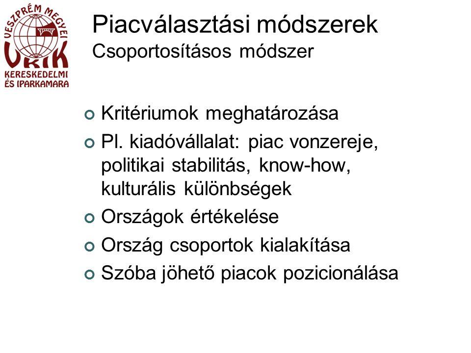Piacválasztási módszerek Csoportosításos módszer Kritériumok meghatározása Pl.