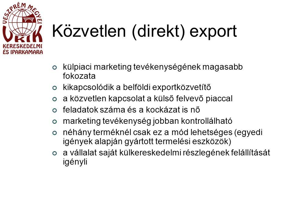 Közvetlen (direkt) export külpiaci marketing tevékenységének magasabb fokozata kikapcsolódik a belföldi exportközvetítő a közvetlen kapcsolat a külső felvevő piaccal feladatok száma és a kockázat is nő marketing tevékenység jobban kontrollálható néhány terméknél csak ez a mód lehetséges (egyedi igények alapján gyártott termelési eszközök) a vállalat saját külkereskedelmi részlegének felállítását igényli
