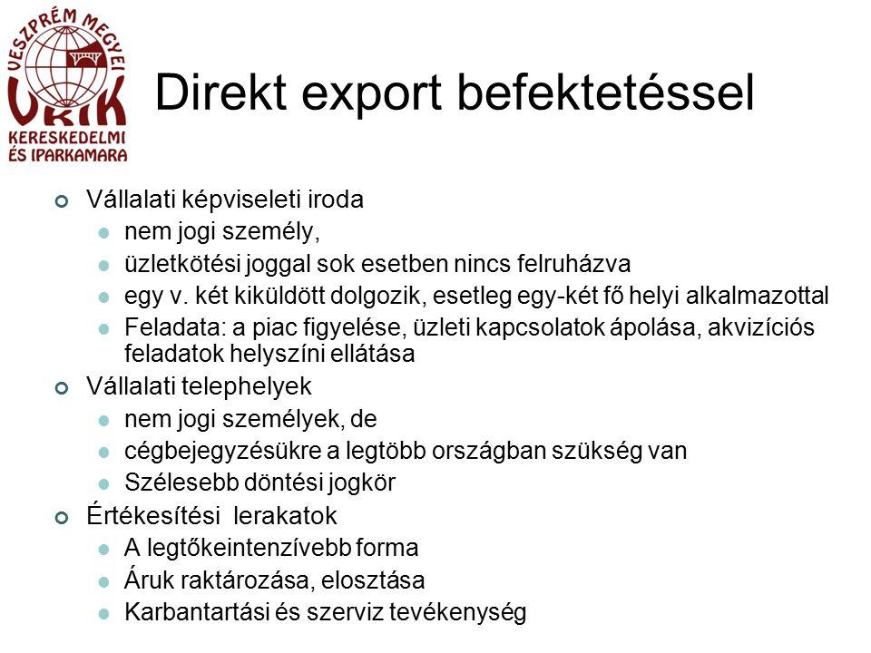 Direkt export befektetéssel Vállalati képviseleti iroda nem jogi személy, üzletkötési joggal sok esetben nincs felruházva egy v.