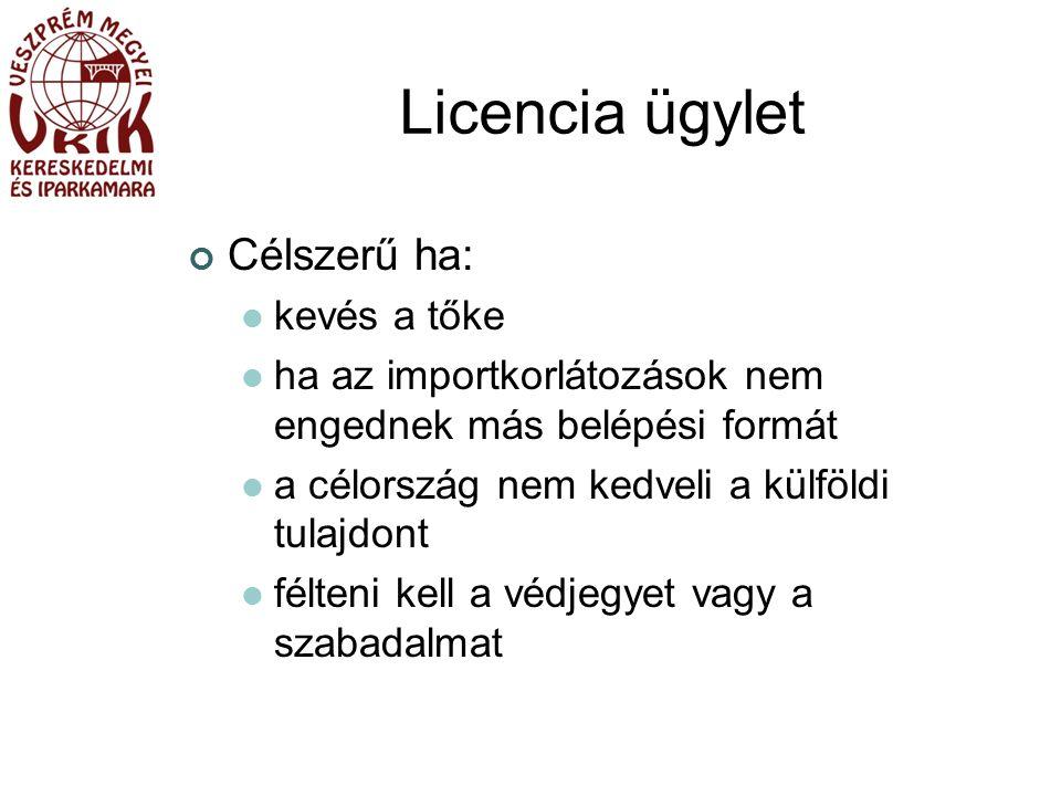 Licencia ügylet Célszerű ha: kevés a tőke ha az importkorlátozások nem engednek más belépési formát a célország nem kedveli a külföldi tulajdont félteni kell a védjegyet vagy a szabadalmat