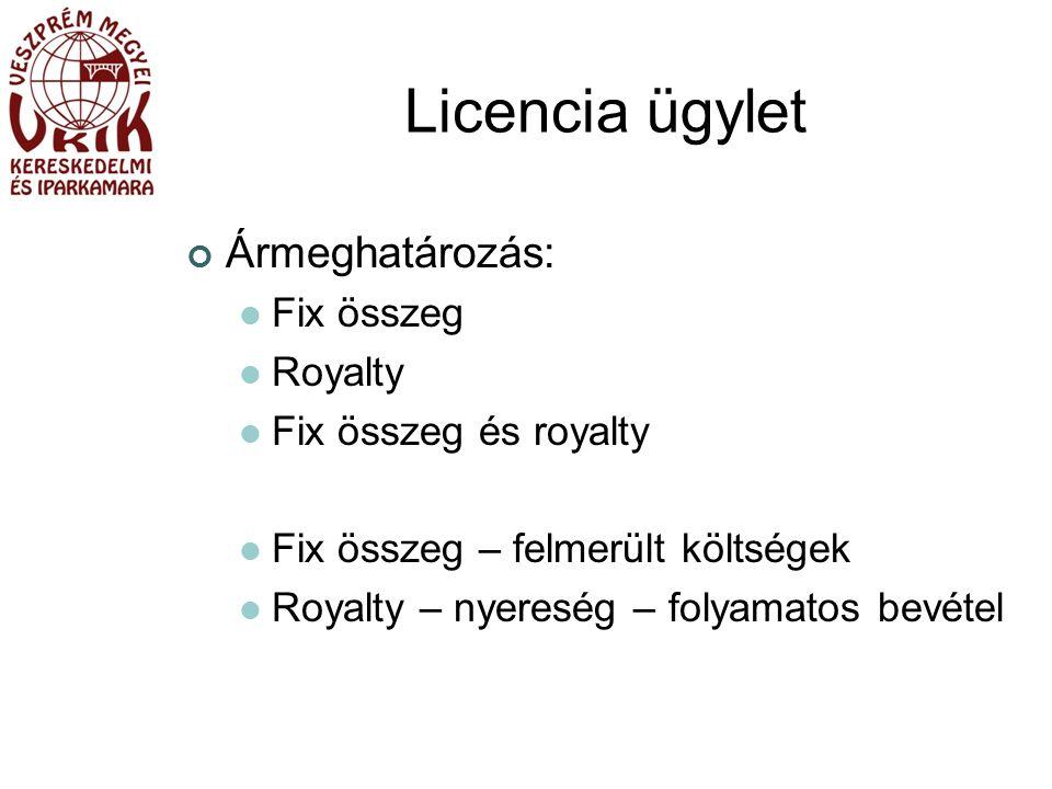 Licencia ügylet Ármeghatározás: Fix összeg Royalty Fix összeg és royalty Fix összeg – felmerült költségek Royalty – nyereség – folyamatos bevétel
